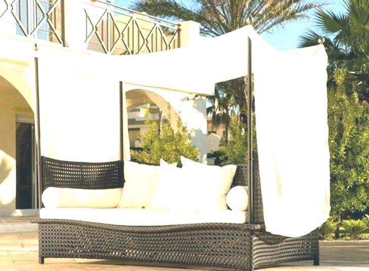 Outdoor Mix Brown Rattan Patio Sofa Furniture Round Retractable Canopy  Daybed