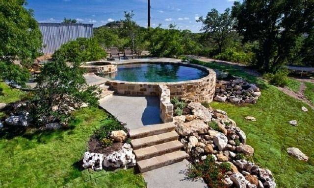 This pool  sits partially underground