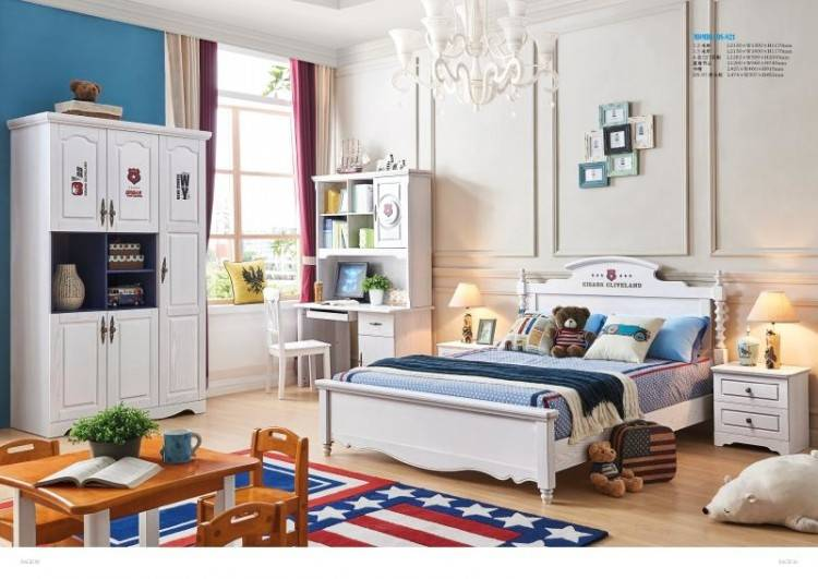 Bedroom with IKEA bed, sidetables, chest of drawers all in wood