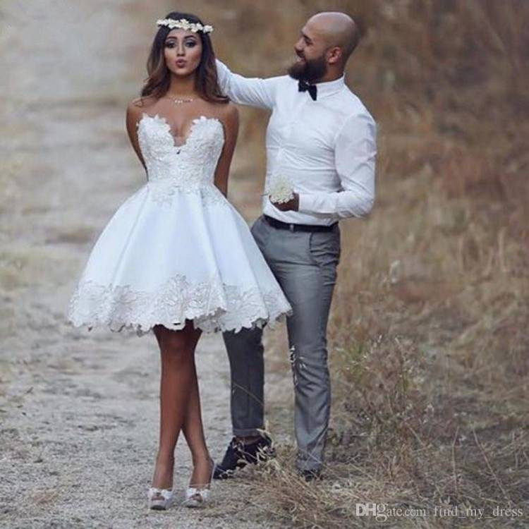 Discount Short Casual Country Wedding Dresses With Long Sleeves Crystal  Neckline Knee Length Full Lace Wedding Gowns Short Beach Bridal Dress 2017  Christian