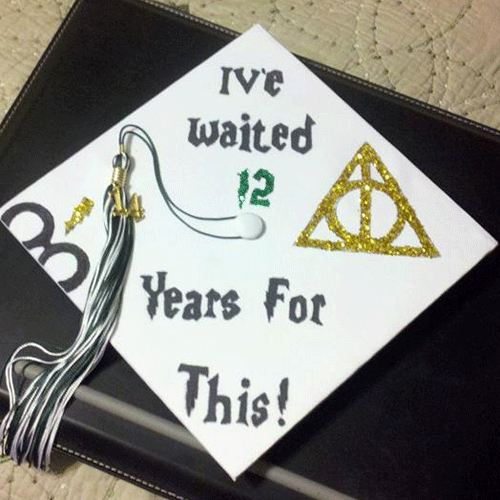 mortar board decorations a university student sports a decorated mortarboard  during class day at in new