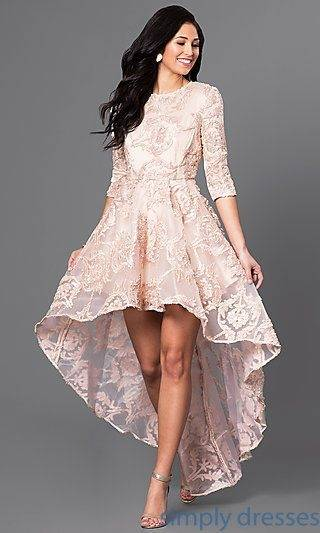 High low blush pink high neck dress with open back