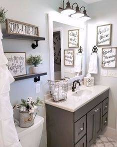 Vintage Farmhouse Bathroom Ideas Round Decor Signs Rustic Mirrors Apron  Front Sink Vanity Waterproof Wall Panels Small White Plum Rough Hot Tub  House