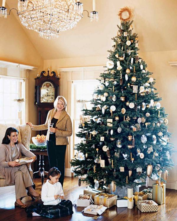 View in gallery Cheerful white Christmas tree with large ornaments fun  patterns View