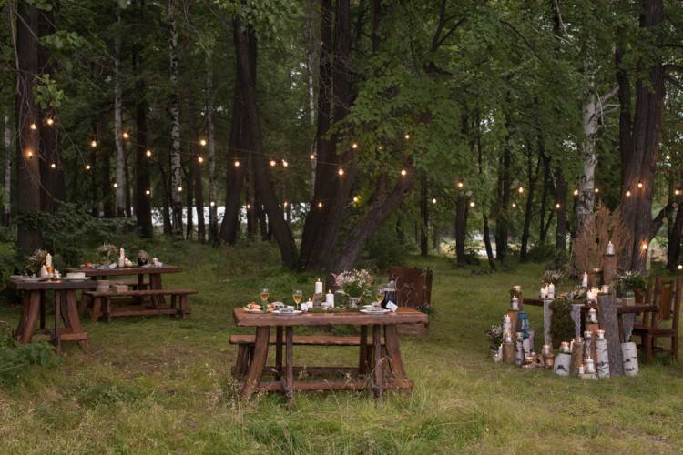 Enchanted Forest Table Centerpieces Breathtaking Woodland Wedding Covered  With Mason Jars With Lights Is Worth A Daydreaming Time Out Enchanted  Forest Party