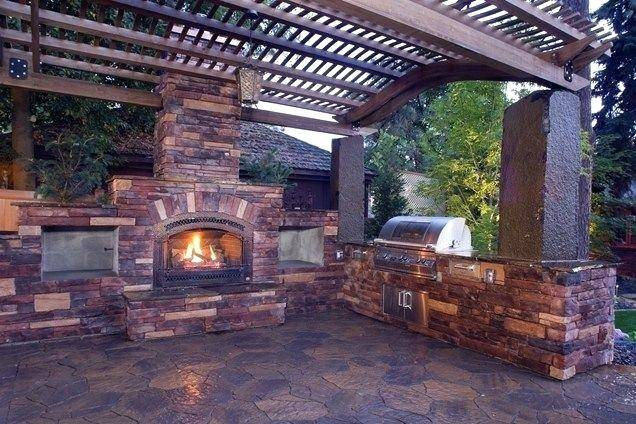 Patio Kitchens Brick Fire Pit Simple Outdoor Kitchen Backyard Kitchen Ideas  Outdoor Fireplace Ideas Patio Landscaping Outside Kitchen Outdoor Patio  Kitchens