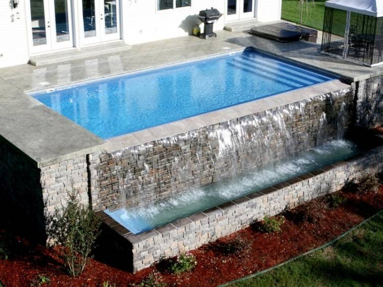 Scenic Stone Pool Decks Interior Design Ideas Slate Deck Before Decking  With And Above Ground Plans