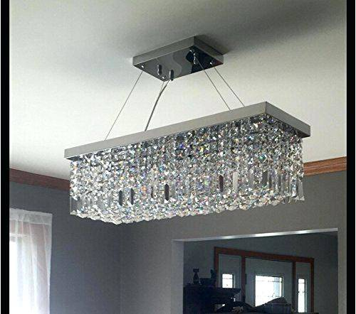Brushed Chrome Soft Brown Fabric Shade Rectangular Chandelier With 8 Light  For Modern Interior Lighting