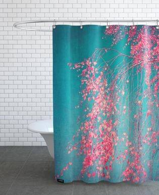 Outdoor Shower Curtain, Woman Riding Vintage Romantic Bike with Spring Time  Flowers in Basket Nature Image, Fabric Bathroom Set with Hooks, Multicolor,