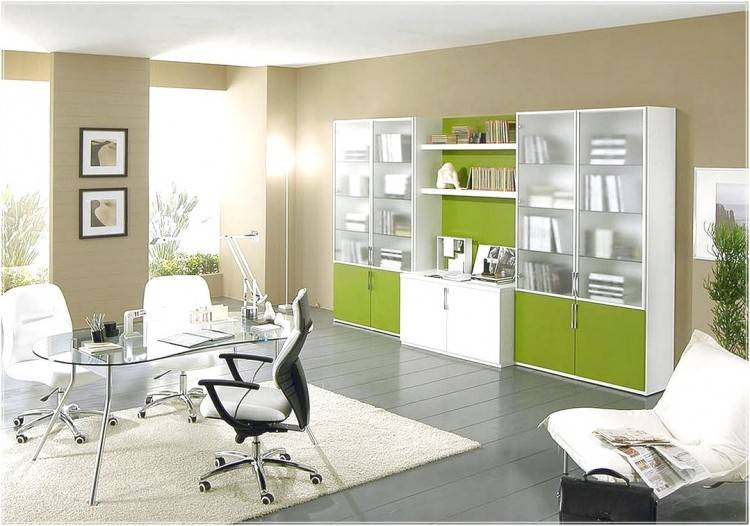 Decorations : Best Home Office Space Decor With Rectangle Contemporary  White Painted Wood Computer Desk And Green Ledder Back Laminated Fabric  Chair Also