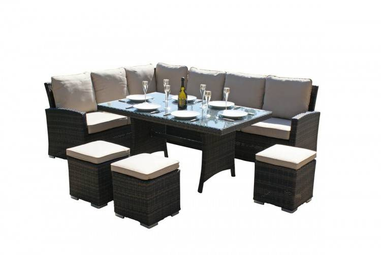 5 PC Rattan Wicker Dining Set Round Table Glass Top 4 Denver Side Chairs