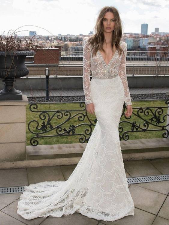 Long Sleeves Wedding Dresses Mermaid V Neck Low Back Wedding Dresses With  Lace Appliques Custom Made Robe De Mariage Sheath Wedding Gowns Discount  Mermaid